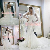 Wholesale gold white pearl for sale - Group buy Ivory Appliqued Lace Wedding Dresses Mermaid Pearls Backless Boho Beach Bridal Gowns Plus Size Outdoor Country Bride Dress Robe de mariée
