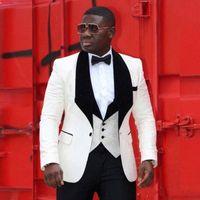 ingrosso uomini di velluto nero velluto-Moda Avorio jacquard smoking dello sposo Black Velvet risvolto Mens Wedding smoking Giacca uomo Blazer Popolare 3Piece Suit (Jacket + Pants + Vest + Tie)