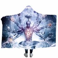 ingrosso biancheria da letto di corallo-3D Stampato con cappuccio coperta invernale doppio addensare per adulti Mandala corallo del panno morbido della coperta del tiro sul divano letto