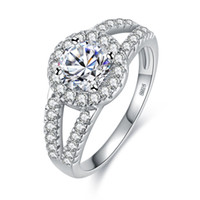 Wholesale indian gem resale online - Hot Jewelry Female lover Ring jewelry silver color gem exquisiteMicro Square crystal Exquisite Lovers Hand Accessories Factory Direct Sale