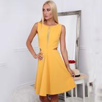 vestido de retalhos preto amarelo venda por atacado-2019 verão novas mulheres magro emagrecimento vestidos sem mangas cintura oco sexy black yellow dress malha patchwork vestidos
