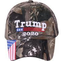 tarnung armee hut großhandel-Donald Trump 2020 Cap Camouflage USA-Flagge Baseballmützen Keep America Tarnmütze 3D-Stickerei Star Letter Camo Army