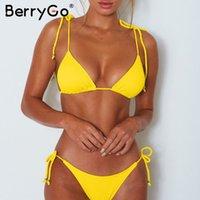 micro biquini amarelo venda por atacado-Conjunto de biquíni amarelo Sólida Amarrar maiô 2019 sexy thong swimwear mulheres maiô Com nervuras push up banhistas micro biquíni