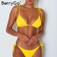 gelber mikrobikini großhandel-Gelber Bikini-Set Fester Badeanzug mit Schnürung 2019 Badeanzug für Frauen mit sexy Tangas Gerippter Micro-Bikini mit Push-up-Effekt