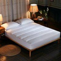 fundas de colchón doble al por mayor-Color sólido acolchado grueso funda de colchón Twin Full Queen colchón Topper cubierta de cama transpirable Protector Anti Ácaros