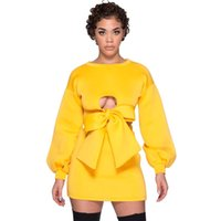 reine kurze rock sexy frauen großhandel-Sexy reine Farbe passt gelben kurzen kurzen Rock Gürtel für Bowknot Frauen NightClub tragen Liebhaber Verabredung Charming Suit S-XL HTS145