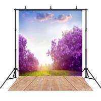 Wholesale background backdrop floor resale online - purple flower photography background wooden floor backdrop portrait for photo shoot vinyl cloth photo backdrops photo booth