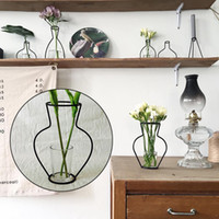 vidrio para estanterías al por mayor-1 Pattern Garden Office Flower Pot Glass Vase Drie Decor Iron Iron Shelving Shelving Ornaments Ornament 4