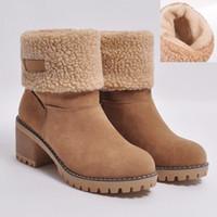 botas de pele de salto baixo venda por atacado-2020 Botas morno mulheres neve Inverno 6cm Salto Alto Fur Felt Sheep Platform Heels Botas Bloco Low Plush tornozelo Sapatinho Chunky Sapatos