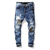 camouflage hosen männer schlank großhandel-Männer Loch Blau Camouflage Sticken Jeans New Style Skintight Retrostraight-Beinhosen Fashion Euramerica Slim Straight Jeans