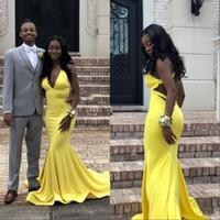 Venta al por mayor de Graduación Vestidos De Amarillo Negro