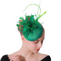 ingrosso capelli di velo di piuma-Sposa copricapo in maglia Cappello in piume garza Velo da sposa Tiara Hairpin Dance Mesh Feather Hat Accessori per capelli