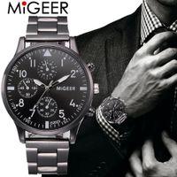 relojes análogos automáticos para hombre al por mayor-Reloj de pulsera de cuarzo analógico de acero inoxidable de cristal para hombre Reloj de pulsera de malla de acero inoxidable para hombre automático