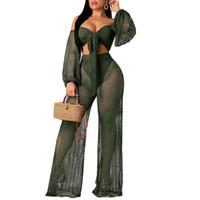 sexy vê através de roupas femininas venda por atacado-Sexy Club Two Piece Set Roupas Femininas Fishnet Corp Top e Calças 2 pcs Conjuntos de Combinação Ver Através de Verão Praia Outfits
