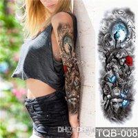 büyük geçici dövmeler toptan satış-Su geçirmez geçici dövme Etiket Kafatası Melek gül lotus desen Kol Çiçek Sanat ile Tam Çiçek Dövme Büyük Büyük Sahte Dövme