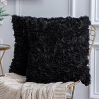 flocado para el sofá al por mayor-Funda de almohada cuadrado sólido 3D estéreo decorativo romántico de la gasa de la flor de Rose almohada cubierta de sofá del dormitorio de techo decorativo flocado