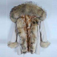 jaqueta de leopardo vermelho venda por atacado-Novas mulheres jaqueta de inverno raposa Leopard forro de pele de coelho parka Racoon vermelho da pele Natural Fox Fur Collar vestuário S-7XL SH190922