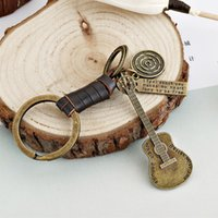 Wholesale guitar accessories for sale - Group buy Free DHL Women Keychain Guitar Pendant Keyrings Leather Key Holder for Women Fashion Accessories Gifts Key Holder