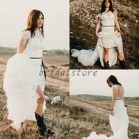 68f9122080b Sexy Cowboy Style Online Shopping - Summer Bohemian Wedding Dresses Short  Sleeve High Neck full Lace