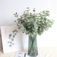 Wholesale artificial silk foliage for sale - Group buy Artificial Leaves Branch Retro Green Silk Eucalyptus Leaf for Home Decor Wedding Plants Faux Fabric Foliage Room Decoration CM