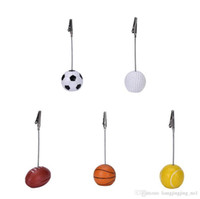 Wholesale wiring photo for sale - Group buy Sport Ball Photo Clip Alligator Wire Card Memo Photo Clip Holder Table Place Card Holder Event Party Favor LJJ_OA3856