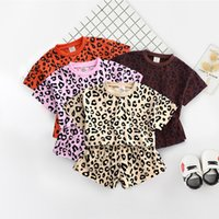 Wholesale leopard kids clothes for sale - Group buy Trendy Little Middle Girl Kids clothing set Leopard print Casual Loose Crop top Shorts Outfits Summer