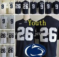 ingrosso punto di jersey di calcio-Gioventù Penn State Nittany Lion # 9 Trace McSorley 26 Saquon Barkley bambini Big Ten Penn State Blu Navy Bianco cucito College Football Jerseys