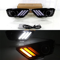 Wholesale compass cover resale online - July King LED Daytime Running Lights With Fog Lamp Cover Case for Jeep Compass LED DRL with Yellow Streamer Turn Signals Light