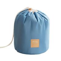 zylindrischer kosmetiktasche großhandel-Neue Reise Make-up Tasche Kosmetiktasche Handtasche Kulturbeutel antiken Fall zylindrisch blau