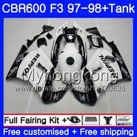 verkleidung für cbr f3 großhandel-Bodys + Tank Für HONDA CBR600FS CBR 600F3 CBR 600 F3 FS 97 98 290HM.46 CBR600RR Repsol Weiß CBR600F3 1997 1998 CBR600 F3 97 98 Verkleidung