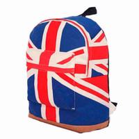 ingrosso bandiera britannica britannica-Borse da esterno UK British Flag Union Jack Style Zaino Borsa da scuola a spalla Zaino Canvas 2019