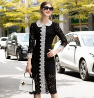 siyah dantel beyaz yakalı elbise toptan satış-Kadınlar Siyah Dantel Seksi Kalem Elbise Uzun Kollu Beyaz Renk Bloğu Peter Pan Yaka Elbiseler 2019 Sonbahar Kış