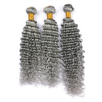 gri dokuma saç toptan satış-Gri Derin Dalga İnsan Saç Demetleri Bakire Perulu Gri Saç Örgü Derin Kıvırcık Gri Saç Çift Atkı Uzantıları 300 g / grup