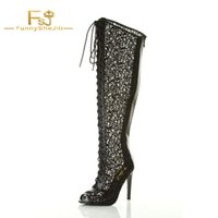 длинные туфли на шнурке оптовых-Woman Shoes Long Boots Black Summer Boots Lace Up Peep Toe Wide Calf Gladiator Sexy  Thin High Heels Cross-tied FSJ