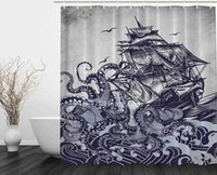 Wholesale look old for sale - Sail Boat Waves and Octopus Old Look Home Textile European Style Bathroom Decoration Decor Peculiar Design Hand Drawing Effect