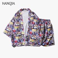 cardigans delgados para hombre al por mayor-Cartoon Naruto Kimono Jacket Mens japonés impreso Cardigan playa masculina 3/4 manga abrigos casuales Top Streetwear nuevo delgado Outwear