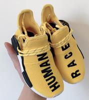 kızlar hediye paketleri toptan satış-Adidas human race 2019 çocuklar İnsan Yarışı Koşuyoruz Ayakkabı erkek kız Güneş Paketi Siyah sarı PW HU HOLI Pharrell Williams Çocuk Sneakers bebek doğum günü hediyesi 26-35