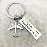 Wholesale airplane flights resale online - Drive Safe Fly Safe Keychain Custom Initial Car Airplane Key Chain Couples Men Pilot Flight Attendant Gift Keyring