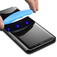 not cam tutkal toptan satış-Nano Sıvı UV Tam Tutkal Temperli Cam Samsung S10 S8 S9 Artı Not 10 8 9 Ekran Koruyucu Için Huawei Mate 20 Pro P30 Pro 1 + 7 UV Işık