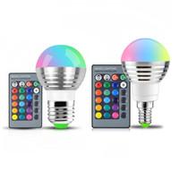 bombillas de ir al por mayor-E27 E14 LED 16 Cambio de color RGB rgbw Bombilla Lámpara 85-265V RGB Luz LED Foco + Control remoto IR