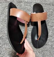 suela de goma superior de cuero al por mayor-Marmont T-Correa Sandalia de cuero Elegante sandalias de tiras con doble parte superior de cuero plana y forro / Caucho G Zapatillas Flip-Flop G004