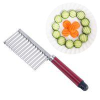 cuchillos de cocina de restaurante al por mayor-Forma de Onda de Acero inoxidable Mango Cuchillo Patata Zanahoria Fruta Cocina Restaurante Cuchillos Sin Sabor Fácil Limpieza 1 25hp C1