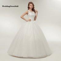 vestidos coreanos bola venda por atacado-Coreano Lace Up vestido de baile vestidos de casamento de qualidade 2019 Alibaba personalizado Plus Size vestido de noiva Real Photo