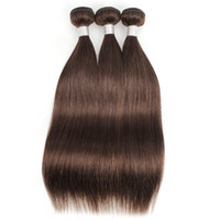Wholesale chocolate 14 human hair resale online - Dark brown bundles straight hair extension color chocolate brown human hair Brazilian Indian Peruvian Malaysian hair weft