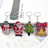 Wholesale acrylic key tags resale online - New trendy acrylic tag pendant Santa Claus Christmas tree snowman bell bag car key accessories
