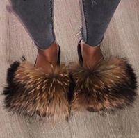 Wholesale fur sandals resale online - Hottest Real Fur Slides Summer Beach Fluffy Slippers Real Raccoon Fur Flip Flops Sandals Shoes