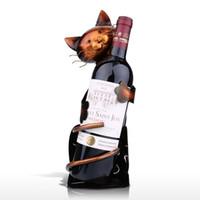 metal şarap şişesi tutacakları toptan satış-Şişe Office Ev Dekorasyonu Hayvan Şarap Raf için Kedi Şeklinde Şarap Tutucu Şarap Raf Metal heykelcik Pratik heykelcik Raf