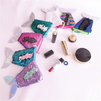 Wholesale coin for sale - Mermaid Tail Sequin Coin Purse With Lanyard Girls Love Beautiful Fish Shape Tail Coin Pouch Bag Portable Glittler Wallet AAA1695