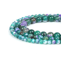 природные рыхлые самоцветы оптовых-Natural Fire Agate Stone  Purple White Spotted Green Agate Gem Stone Loose Bead Material 6-10mm Jewelry Rosary Craft Making