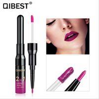 Wholesale pro lipstick online - QiBest Colors Pro In1 Liquid Matte Lip Glaze Lip Liner Waterproof Long Lasting Liquid Lipstick Lip Gloss Maquiagem